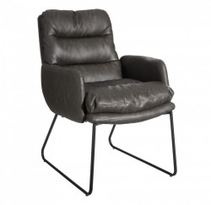Scaun lounge gri din poliuretan si fier Ramina Ixia