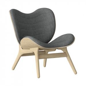 Scaun lounge gri/maro stejar din poliester si lemn A Conversation Piece Umage