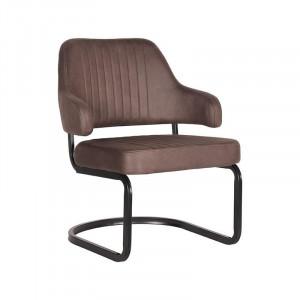 Scaun lounge gri trufa/negru din microfibre si metal Otta LABEL51