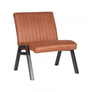 Scaun lounge maro coniac/negru din microfibre si metal Matz LABEL51