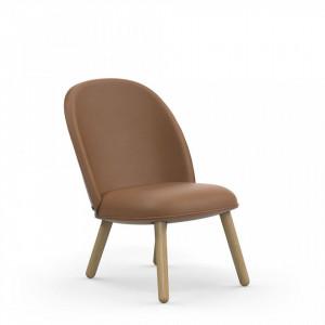 Scaun lounge maro din lemn de stejar si piele Ultra Copenhagen