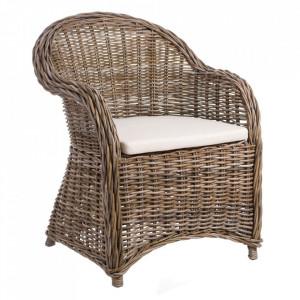 Scaun lounge maro din lemn si ratan Ptess Ixia