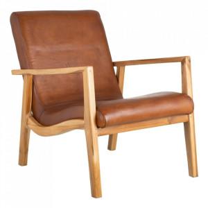 Scaun lounge maro din piele si lemn de tec Alosso Denzzo