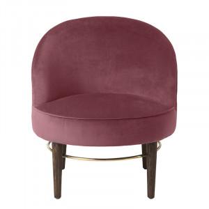 Scaun lounge multicolor din lemn si catifea Club Rouge Cozy Living Copenhagen
