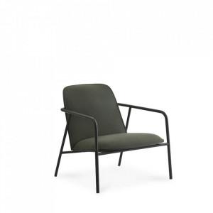 Scaun lounge negru din otel si textil Low Pad Normann Copenhagen