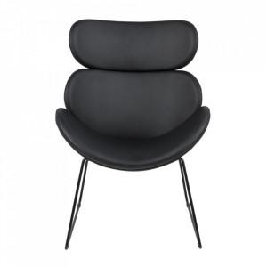 Scaun lounge negru din poliuretan si metal Cazar Actona Company