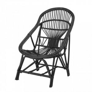 Scaun lounge negru din trestie de zahar Joline Bloomingville