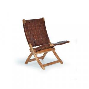 Scaun lounge pliabil maro din piele si lemn Nature Giner y Colomer