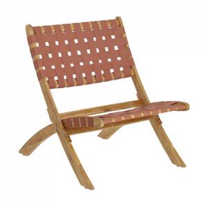 Scaun lounge pliabil maro din textil si lemn de salcam Chabeli Kave Home