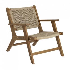 Scaun lounge pliabil maro inchis din sfoara si lemn de salcam Geralda Kave Home