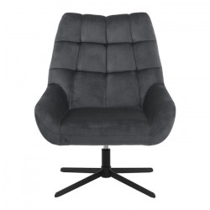 Scaun lounge rotativ gri inchis/negru din textil si metal Paris Actona Company