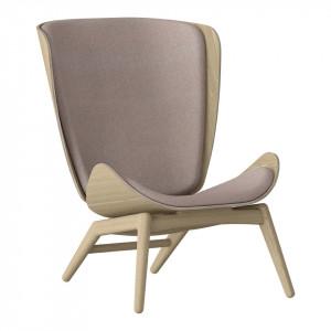 Scaun lounge roz prafuit/maro stejar din poliester si lemn The Reader Umage