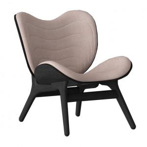 Scaun lounge roz prafuit/negru din poliester si lemn A Conversation Piece Umage