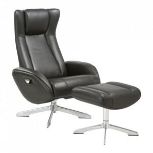 Scaun lounge si taburet pentru picioare negre din piele si aluminiu Riga House Nordic