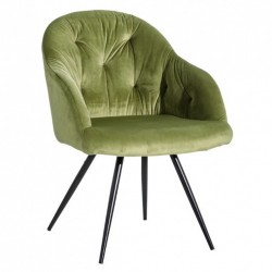 Scaun lounge verde/negru din catifea si metal Birdie Ixia