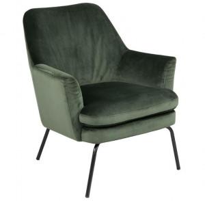 Scaun lounge verde padure/negru din catifea si metal Chisa Forest Green Black Actona Company