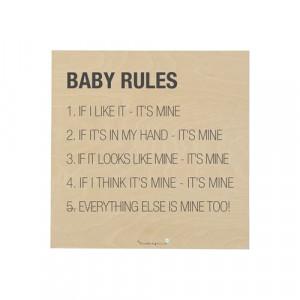 "Semn patrat din lemn ""Baby rules..."" maro Bloomingville"