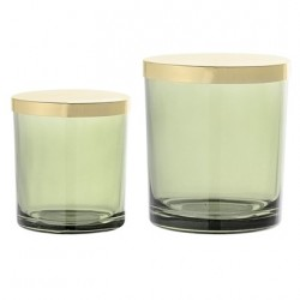 Set 2 borcane transparente verzi din sticla 7x8 si 9x10 cm Bloomingville