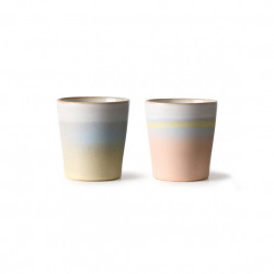 Set 2 cani multicolore din ceramica 180 ml Special Mugs HK Living