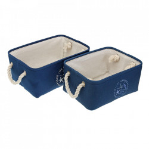 Set 2 cosuri albastre/crem din textil Nautical Versa Home
