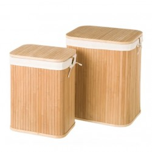 Set 2 cosuri cu capac de rufe din lemn de bambus Marl Unimasa