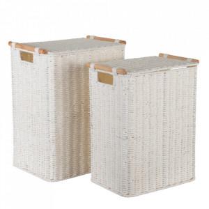 Set 2 cosuri de rufe albe din sfoara si lemn de eucalipt Berna Ixia