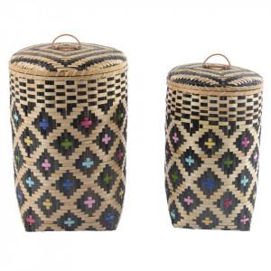 Set 2 cosuri multicolore pentru rufe din bambus Nara Zago