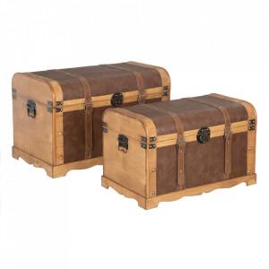 Set 2 cufere maro din lemn si poliuretan Brasio Ixia