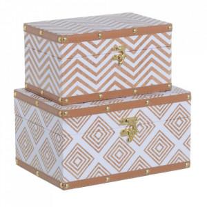 Set 2 cutii cu capac maro/albe din MDF si PVC Millia Ixia