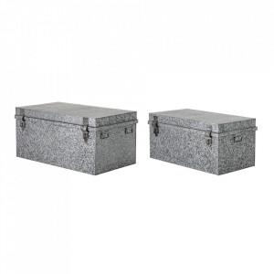 Set 2 cutii cu capac pentru exterior argintii din fier Harry Bloomingville