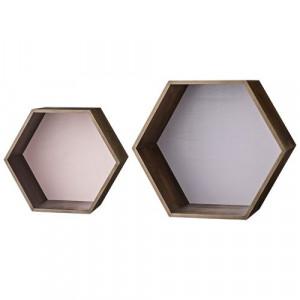 Set 2 cutii hexagonale pentru perete maro/roz/mov Bloomingville