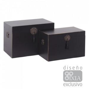 Set 2 cutii negre cu capac din MDF Matrika Ixia