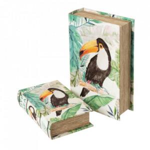Set 2 cutii tip carte multicolore din matase si MDF Tepui Unimasa