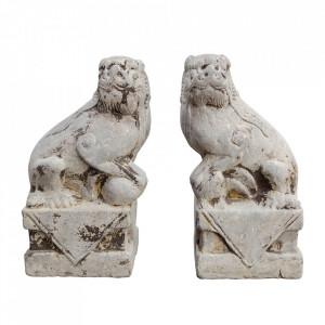 Set 2 decoratiuni gri din marmura 24 cm Lions Versmissen