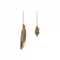Set 2 decoratiuni suspendabile aurii din metal Feather Hubsch