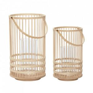 Set 2 felinare maro din bambus Hector Hubsch