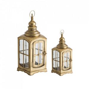 Set 2 felinare transparente/aurii din otel si sticla Gordon Vical Home
