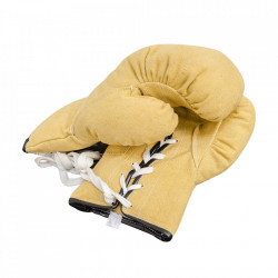 Set 2 manusi de box decorative galbene din canvas 12 cm Boxing Gloves Versmissen