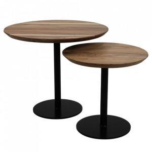 Set 2 masute de cafea maro/negre din lemn de salcam si fier Pillar HSM Collection