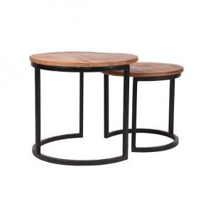 Set 2 masute de cafea maro/negre din lemn si metal Duo LABEL51