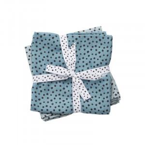 Set 2 paturi albastre din bumbac pentru copii 120x120 cm Dots Done by Deer