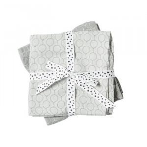Set 2 paturi gri din bumbac pentru copii 120x120 cm Moira Grey Done by Deer