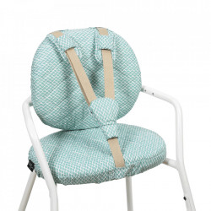 Set 2 perne si 3 accesorii pentru bebelusi albastre/albe din bumbac Tibu Diamond Charlie Crane