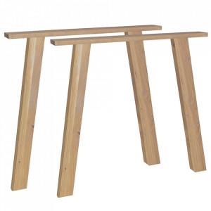 Set 2 picioare pentru masa maro din lemn de stejar U-Legs Woood