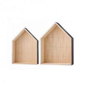 Set 2 rafturi gri/maro din lemn Hatika Bloomingville