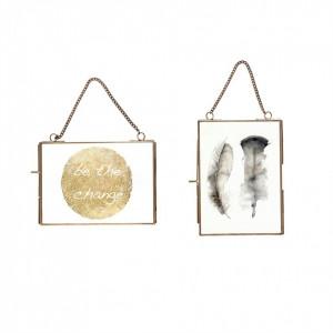 Set 2 rame foto dreptunghiulare cu lant metal antichizat Hubsch