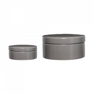 Set 2 recipiente cu capac gri din ceramica Loir Bloomingville