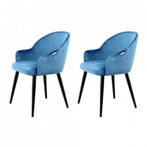 Set 2 scaune dining albastre/negre din catifea si fier Jorie Kayoom