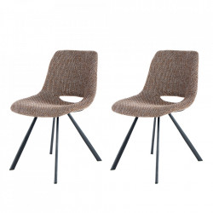 Set 2 scaune dining maro din in si metal Josephine Kayoom