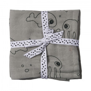 Set 2 scutece gri din bumbac pentru bebelusi 70x70 cm Sea Friends Done by Deer